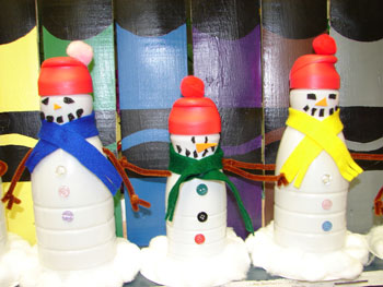 Snowmen made from Creamer Bottles