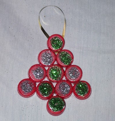 Glitter Coke Lid Ornament