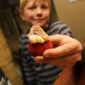 A blond boy holding a strawberry dipped in sour cream and brown sugar