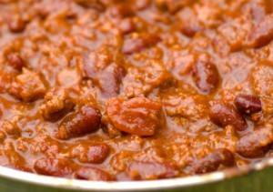 A bowl of bean and tomato chili