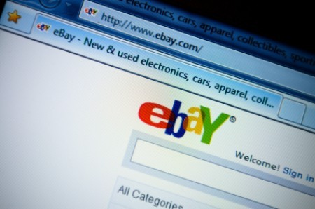 Computer screen on the online auction website, eBay.