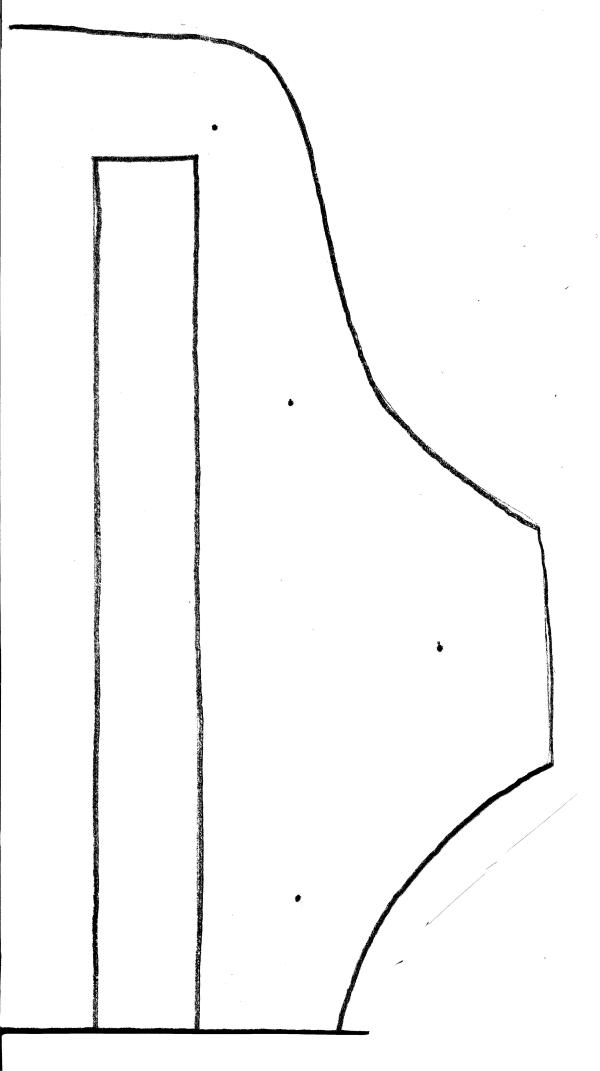 hand drawn pattern showing where to cut slot in hanger