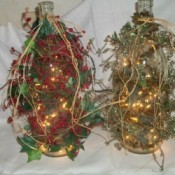 Photos of wine bottle lamps with decorations.