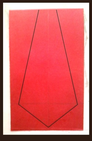 Red cardstock with necktie outline