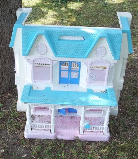 Two story plastic doll house
