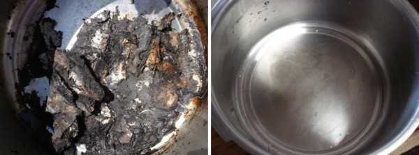 A pot with burned food and the same pot that was cleaned by the sun.