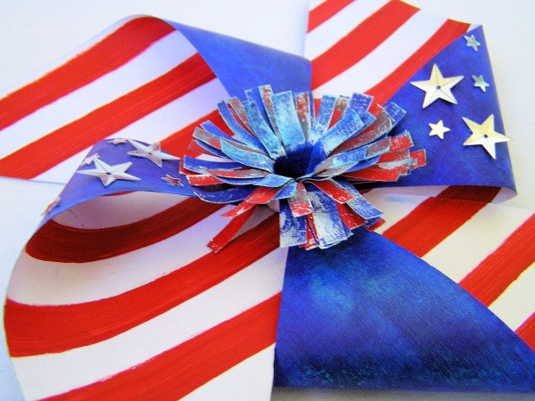 closeup of flag motif pinwheel