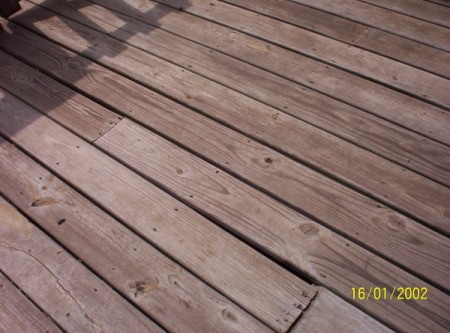 Weathered deck boards.