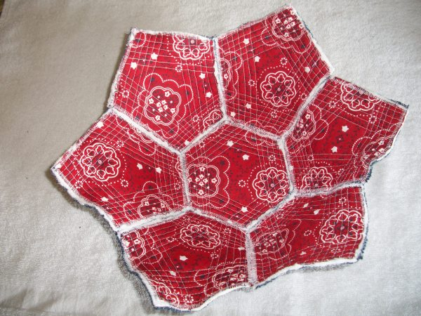 A red version of the fabric bowl, with patterned handkerchief fabric.