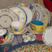 mismatched sets of dishes