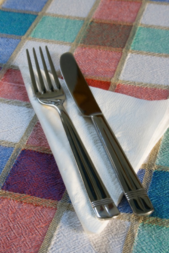 Fork and knife on a napkins