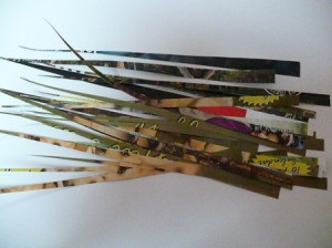 thin strips of magazine cut into long skinny triangles
