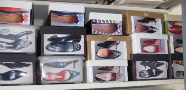 shoe boxes with photos of shoes attached to them