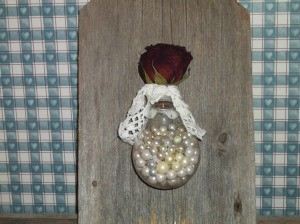 Light Bulb Wall Vase - finished bulb filled with beads