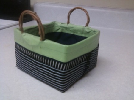 A basket made from milk cartons.