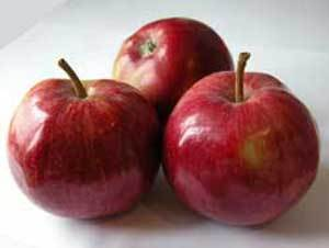 Photo of red delicious apples.