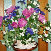 Bouquet of Siberan iris, peony, and mock orange blossoms