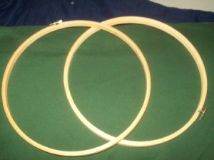 Two wooden embroidery hoops