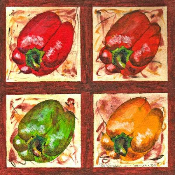 Painting of four blocks with a red, green, or orange bell pepper in each block.