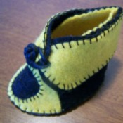finished blue and yellow bootie