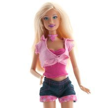 Cleaning Barbie Clothes, Barbie doll wearing pink top and jean shorts.