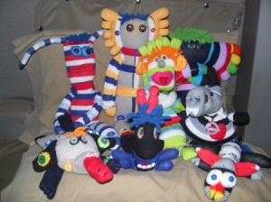 Groups photo of several sock creatures.