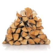 Pile of split firewood.