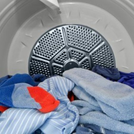 Clothes inside a dryer.