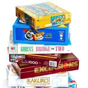 Stacks of board game boxes