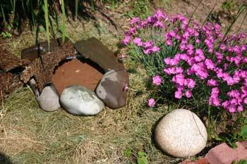 Photo of a butterfly garden pond, a circle of rocks with water in it.