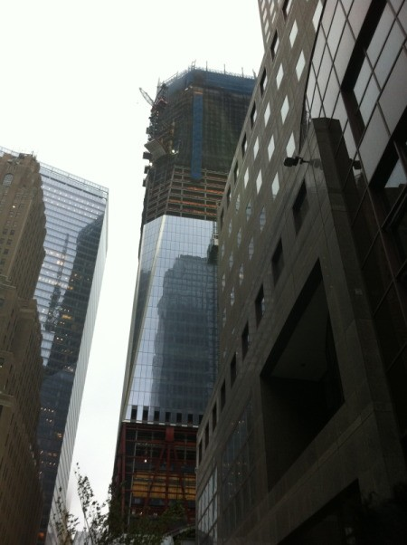 A closer view of the World Trade Center being constructed.