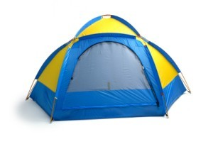 Blue and Yellow Dome Tent
