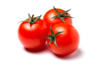 Growing Tomatoes, Red Tomatoes on White Background