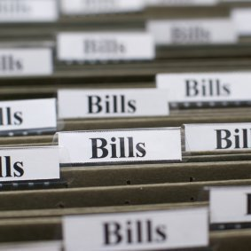 Folders labled Bills