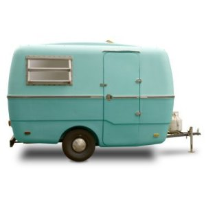 Sky Blue Retro Travel Trailer 3