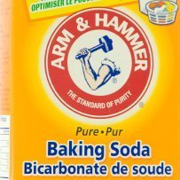 Up close photo of the front of a baking soda box