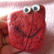 Hand holding a red pet rock with googly eyes