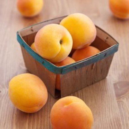 Apricots in a basket.