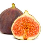 Two figs, one is cut in half.