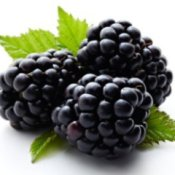 Three blackberries with leaves.