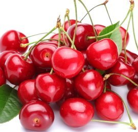 Pile of red cherries.