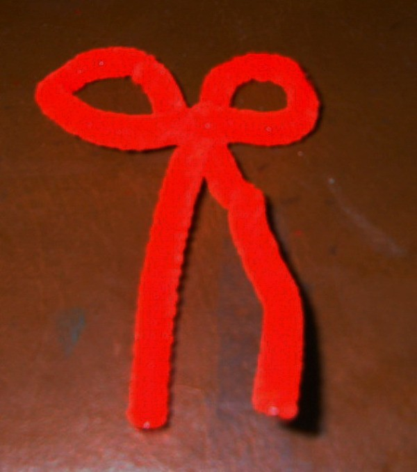Red Bow made from pipe cleaner