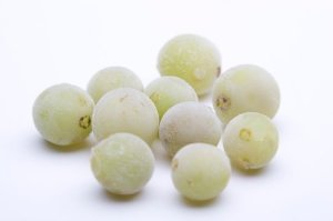 A photo of frozen grapes.