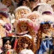 Cluster of fancy lady dolls.