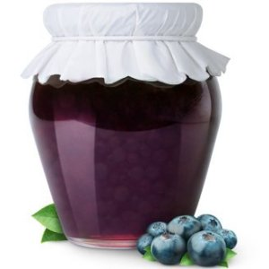 Jar of blueberry jam with white fabric top.