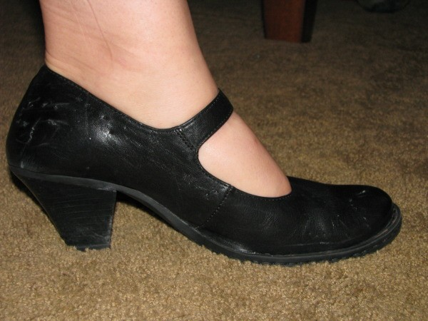 Black leather women's shoes.