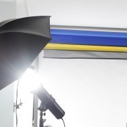 Video camera light with umbrella.