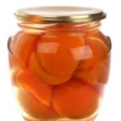Jar of preserved apricots.