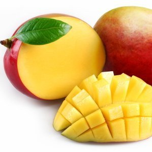 Mangoes and a cut up mango.