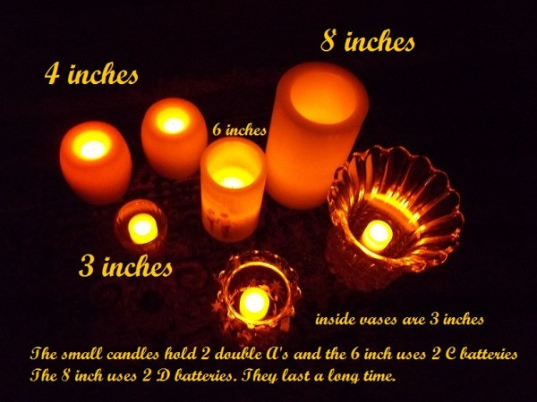 Group of Seven Various Orange Flameless Candles